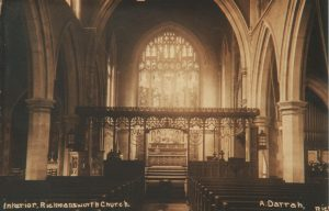 Interior of St Mary's Church before the rood screen was removed