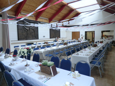 Main hall, laid out for a wedding breakfast